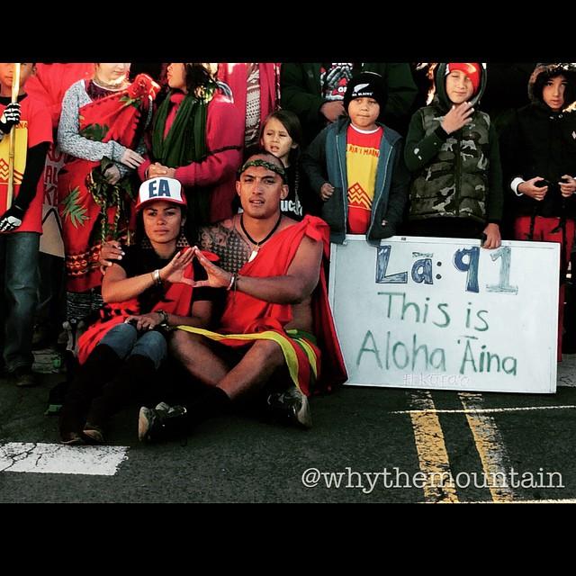 Kuʻuipo Freitas; one of the Leaders of the  mauna kea Protectors takes a moment to capture one of their Daily iconic crosswalk photos that she has Posted everyday the Last 91 days As part of her own media documentation campaign to keep people aware of their vigil of kapu aloha on Mauna a Wākea. #wearemaunakea #whythemountain #alohaaina #kukiaimauna #kuleana #kapualoha @whythemountain @kuuipomana @kahookahi @prideofgypsies