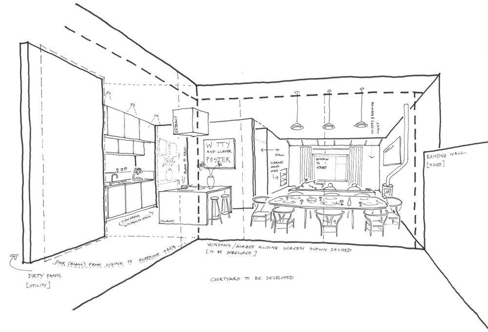 Initial concept sketch showing open-plan living / dining / kitchen area and connection to external courtyard.