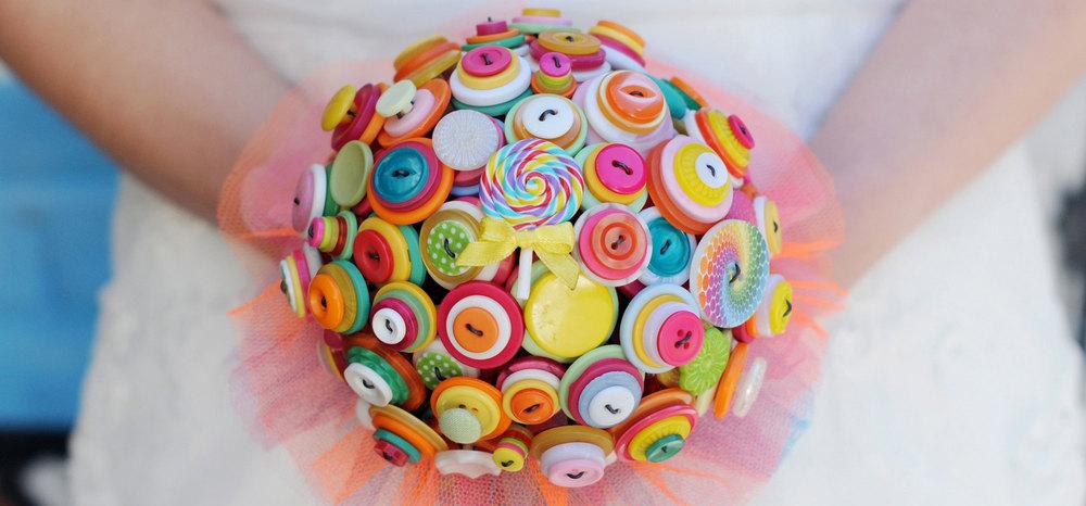 i heart buttons bouquet