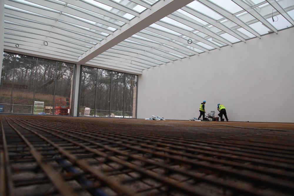 Fundering voor een kunstwerk van Richard Serra (foto: Museum Voorlinden)