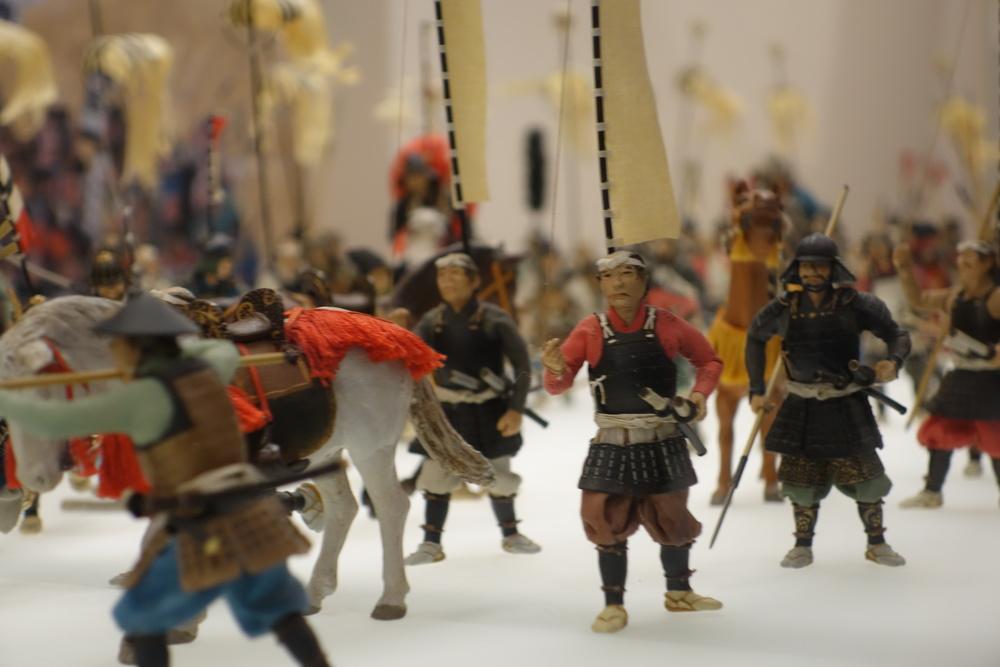 Miniatuurveldslag in Osaka Castle Museum.