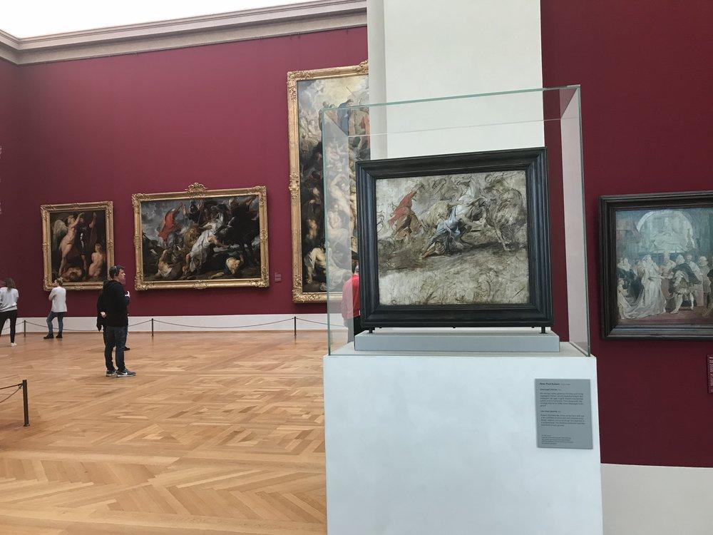 Peter Paul Rubens, De leeuwenjacht (1621) - schets op de voorgrond, op de achtergrond het schilderij