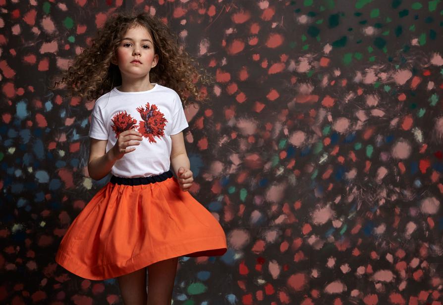 Look BELLA skirt Coral with Navy ribbon Junior.jpg