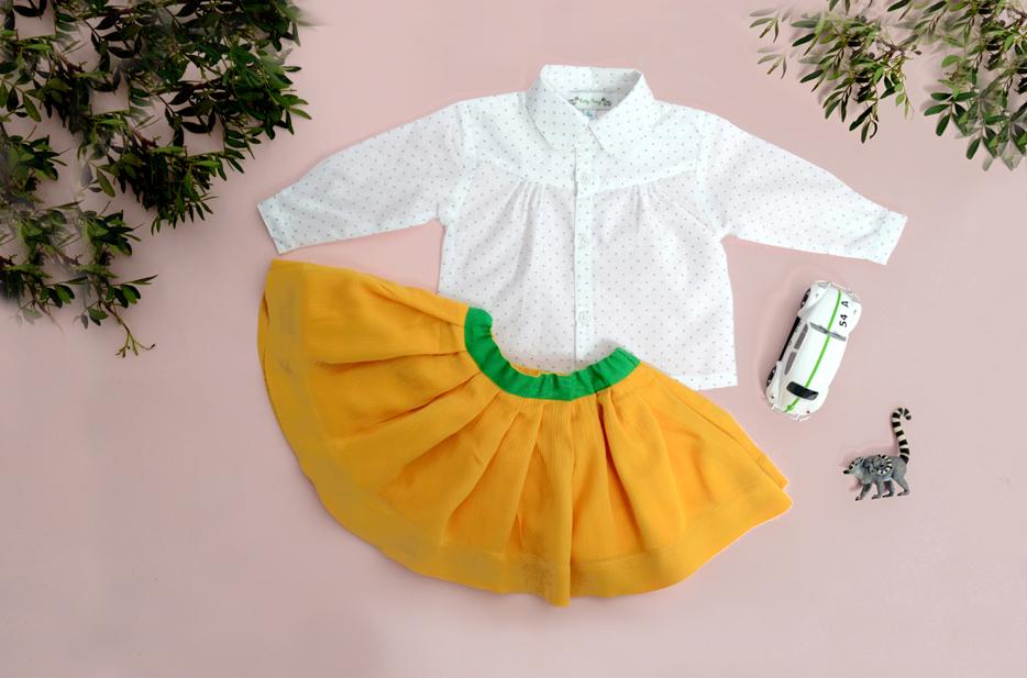 HARPER blouse, BELLA REVERSIBLE skirt