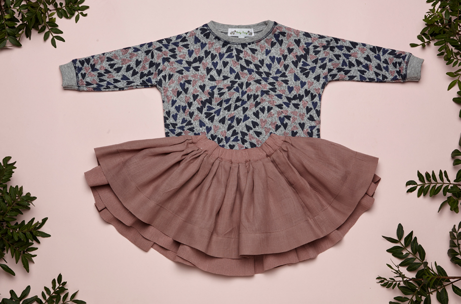 IVY top, REVERSIBLE BELLA skirt