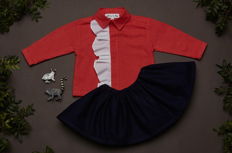 SOPHIA blouse, SCARLET skirt