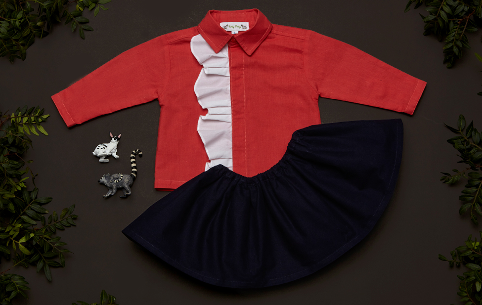 Look SOPHIA blouse coral and white and SCARLET skirt navy.jpg