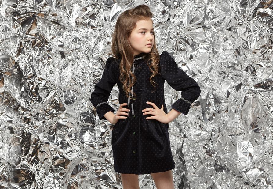 LOOK YARA dress Black Polka dot velvet with Silver black ribbon JUNIOR.jpg