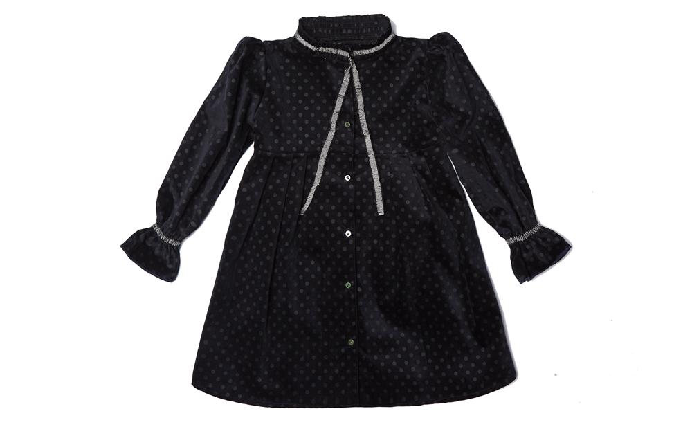 YARA dress Black Polka dot velvet with Silver black ribbon JUNIOR.jpg
