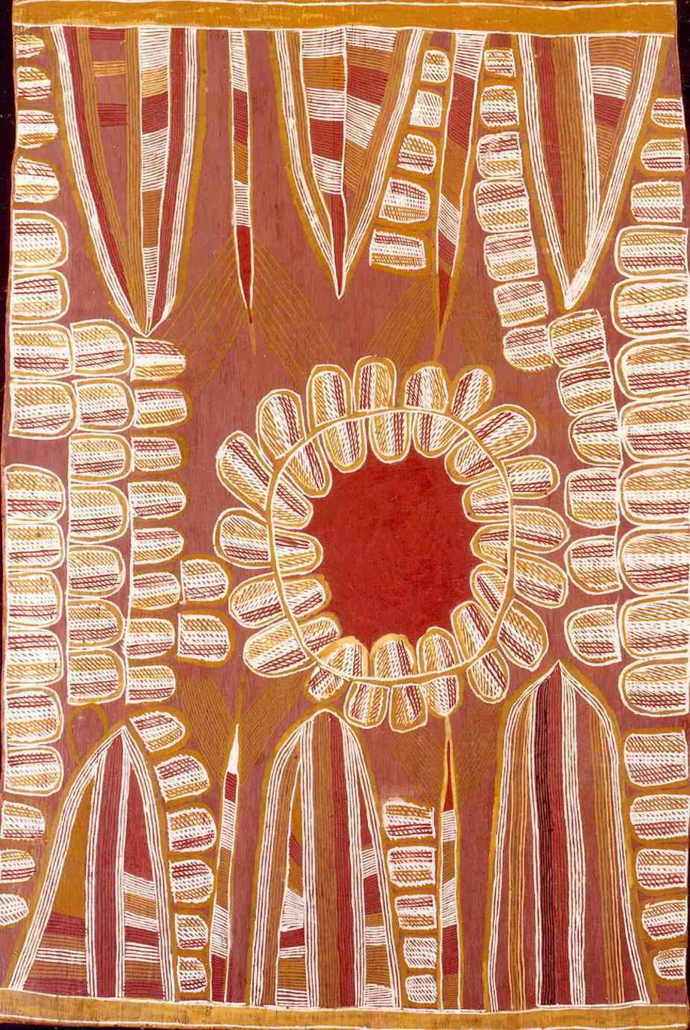 Linda Namiyal Bopirri, 1990, Yolngu Matha (Durrurna clan, Dhuwa moiety), Oyster ('Oyster Dreaming', 'Wayanaka') Bank, Ochre on Bark, 64x95cm.     © the artist's estate, licensed by Aboriginal Artists Agency Ltd; Burkhardt-Felder Collection, Switzerland.