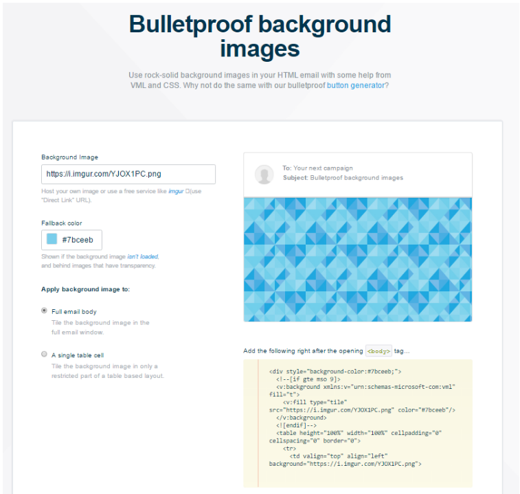 bulletproof background generator campaign monitor