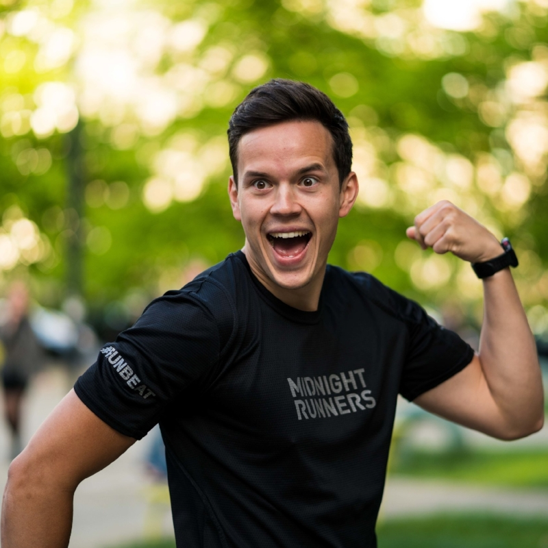 "All right, all right, all right! Next up is our fearless German MC, Alex (@lexmouth). Originally from near Aachen, Germany, Alex moved to Berlin ""for work, and fell in love with the city!"" Alex ""just started running for fun in college and completed my first half marathon in 2014. After finishing the Berlin Marathon last year, I realized that I will probably be a runner forever!"" That marathon experience, considered Alex's greatest running achievement to date, taught him a lot: ""…when I was just an hour away from the finish line, it seemed so sweet to stop - but my friend reminded me: 'Alex, this is what we run for - the last hour. This is why we train!' It was such a push to continue, it gave me the purpose I needed. It was the reason why I was there, and why I couldn't stop. It taught me how important purpose is in everything that we do.""  If you've run with Berlin Midnight Runners, you've probably seen and heard Alex smiling, high-fiving, and encouraging all runners along the route. ""I love motivating people. I really love talking to people, finding out about their perspectives and helping if I can… For me, running is all about unity and equality. It doesn't matter where you are from, what you do or who you are – when you run together, everyone is the same and you run as one. That is the spirit I felt from the start at Midnight Runners and that kept me motivated to come back week after week. At the same time, I love sharing the energy that I get through running with the people around me. In the end, as a captain you share your energy, but also get so much in return!  ""I believe in the profound impact we all can have on the lives of other people. If I can create a smile on someone's face, my goal of the day is reached. It's as easy as that."" Thanks for always making us smile, Alex. We can't wait to watch you crush your next goal!"