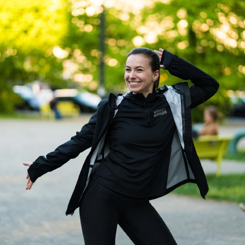"Hailing from Vienna, Austria, Marion (@mrndsk) joined Berlin's coolest run crew in early 2018. Not many Berlin regulars might know this, but Marion moved to Berlin to work toward her master's degree in Biotechnology: ""I work in a lab – so when I'm not in my sports gear I run around wearing a lab coat, doing crazy science experiments."" Isn't it fun to learn new things about the people you run next to every week?   Marion ""loved Midnight Runners from the very first moment. Wednesdays just couldn't come around fast enough and I was buzzing to run with all those amazing people again. I was new to Berlin, but MR made me feel welcome and I found some great friends – it made the new big city feel like home in no time."" Marion's big smile and great sense of humour immediately impressed us; we're so glad we found each other!  A nature-lover at heart, Marion has completed hikes in the Tyrolean Alps, white-water rafted on the Zambezi river, and bungee-jumped at Victoria Falls in Zimbabwe. Talk about adventurous! Future goals include ""trekking Annapurna circuit in Nepal later this year, and I would also love to climb Kilimanjaro at some point in my life."" Amazing. But unless she's off on some fantastic adventure, you can find Marion running with us every Wednesday: ""I love the combination of getting people to move, interact, make new friends and have a TON of fun all in one. It's just an honor to be part of this amazing crew and I think together as a community we can achieve great things."""