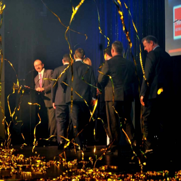 Gold Streamer Cannons fired for award presentation - Blaso Pyrotechnics, Melbourne, Australia