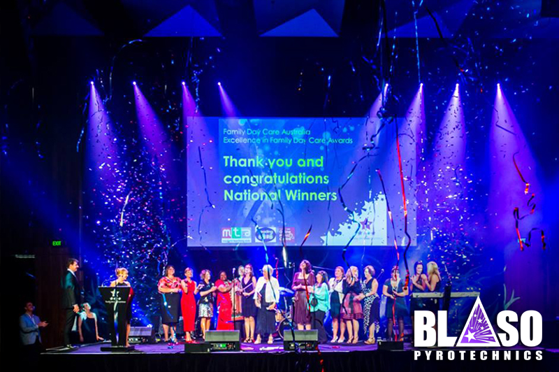 Streamer Cannons fired for presentation of FDCA awards MCEC - Blaso Pyrotechnics Melbourne, Australia