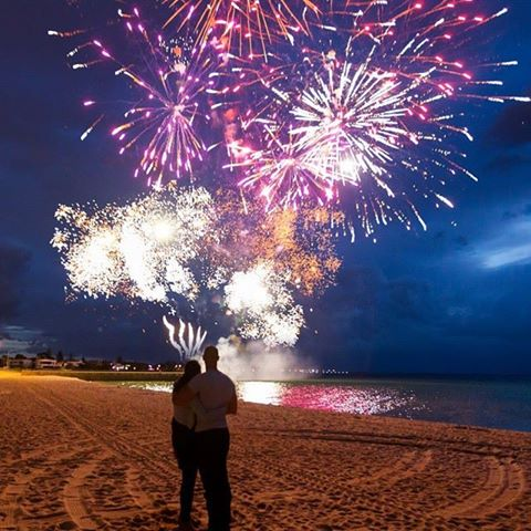 Fireworks display for marriage proposal on Melbourne beach - Blaso Pyrotechnics