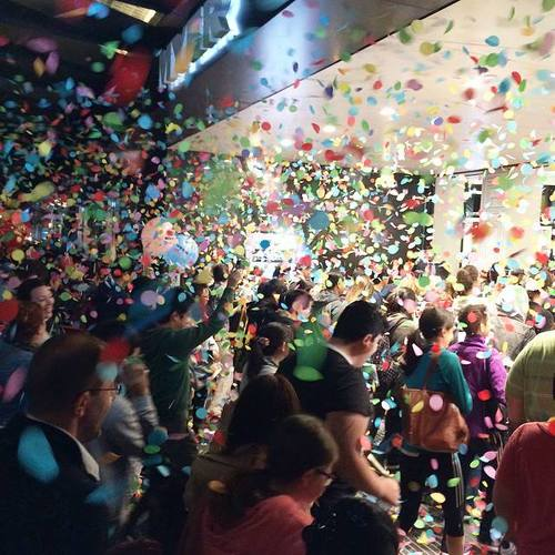 Crowd running through Confetti at Myer Boxing Day Sales Melbourne - Blaso Pyrotechnics