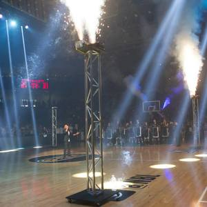 Indoor Fireworks elevated on box truss on basketball court - Blaso Pyrotechnics, Melbourne, Australia