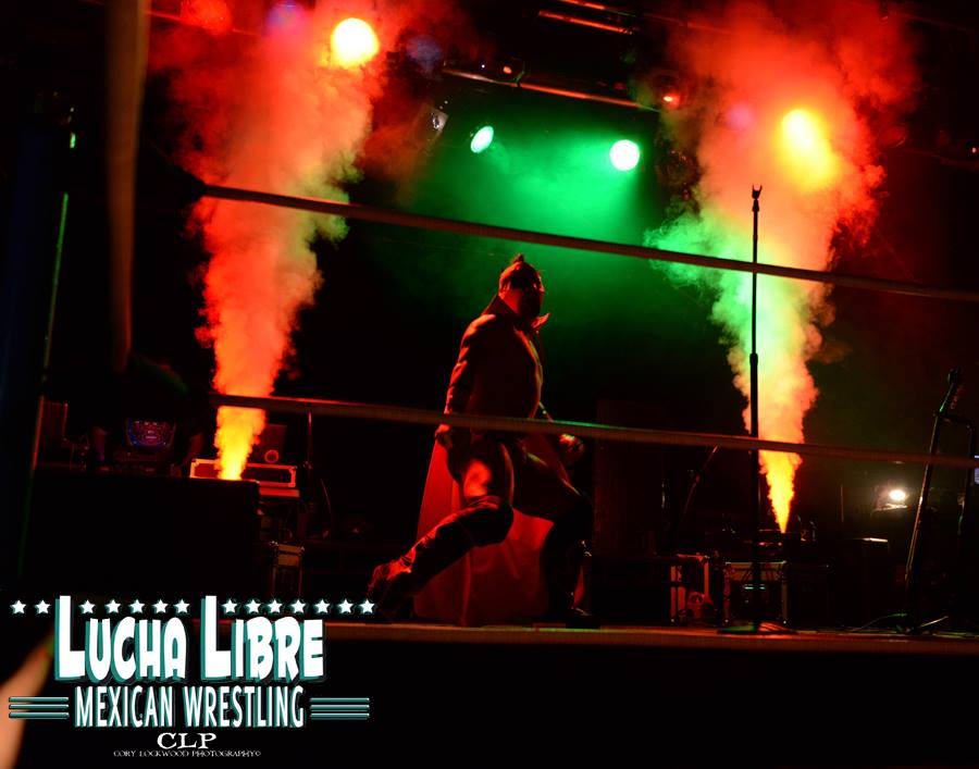 Mexican Wrestling Entrance with Smoke Jets Geysers
