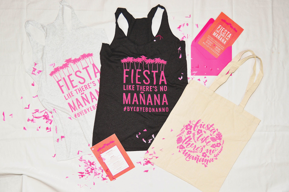 The design for the Fiesta tanks was screen printed by hand in house.