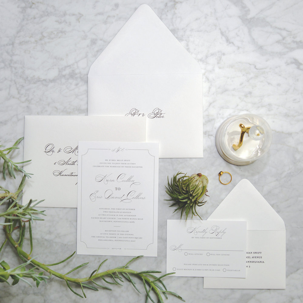 We also used personalized inner envelopes for this suite!  Such a great touch!