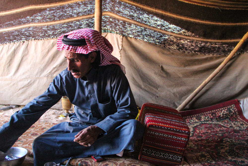 Ibrahim Zalabi, 41, runs a camp for tourists in Wadi Rum. More on tourism's impact on Jordan's Bedouin population  here .