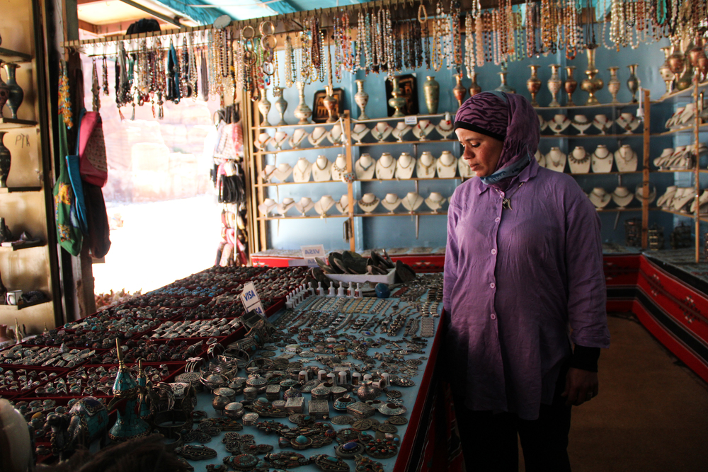 Fatmeh has been working in Petra's tourist shops since she was a young girl. More on tourism's impact on Jordan's Bedouin population  here .