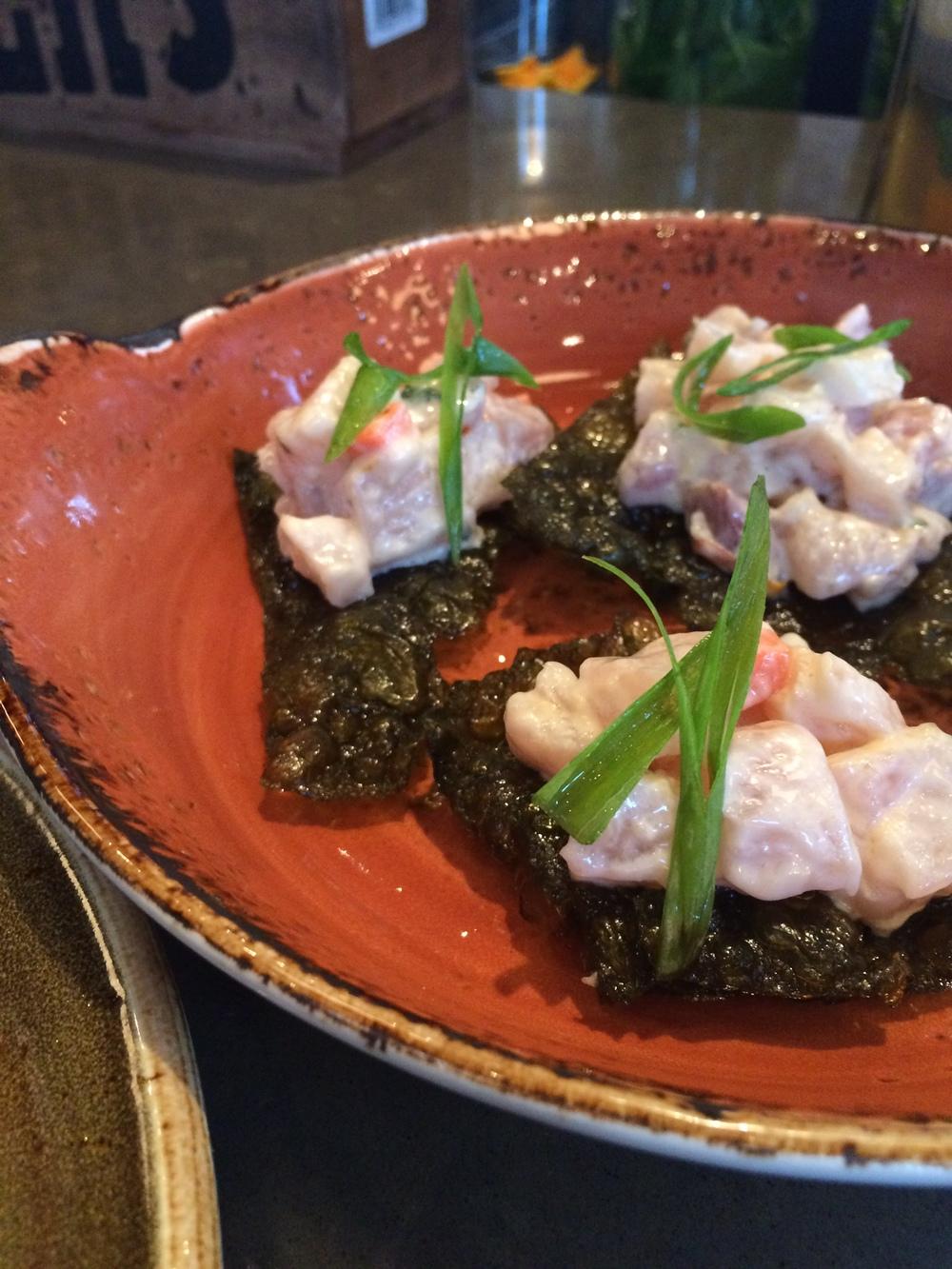 Hamachi tartare, pickled daikon remoulade, kombu crackers
