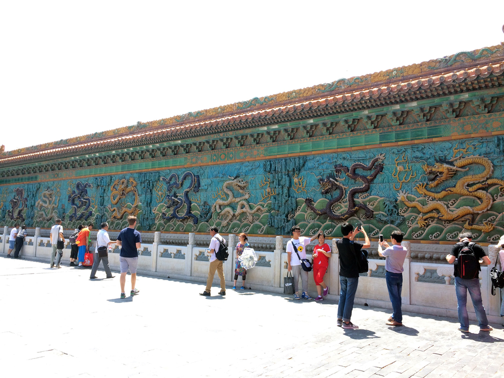 Glazed Tile 9 Dragon Screen Wall