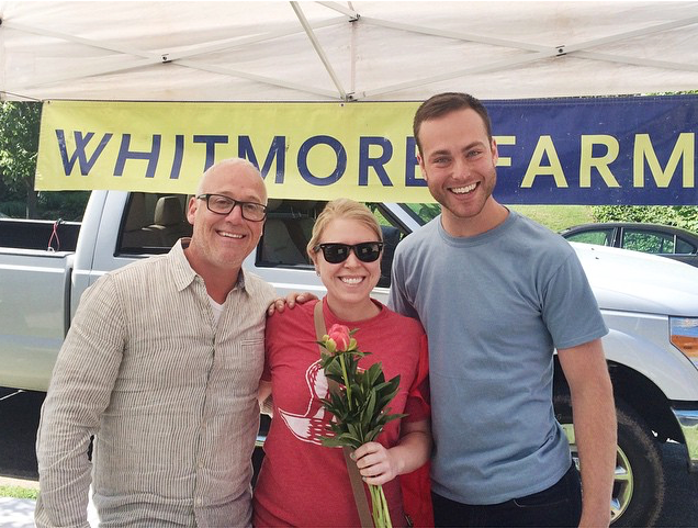 Will Morrow, Michelle and Whitmore Farm employee, Schuyler Beeman at the Chevy Chase Farmer's Market.