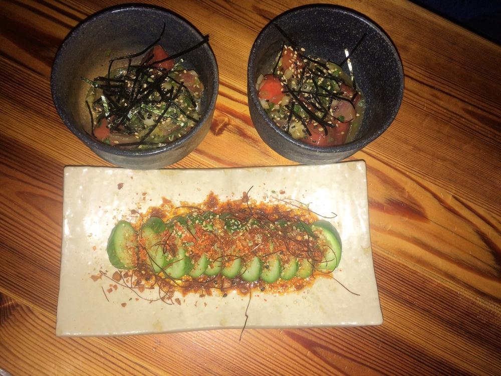 Tuna Watermelon Poke & Cucumber Salad