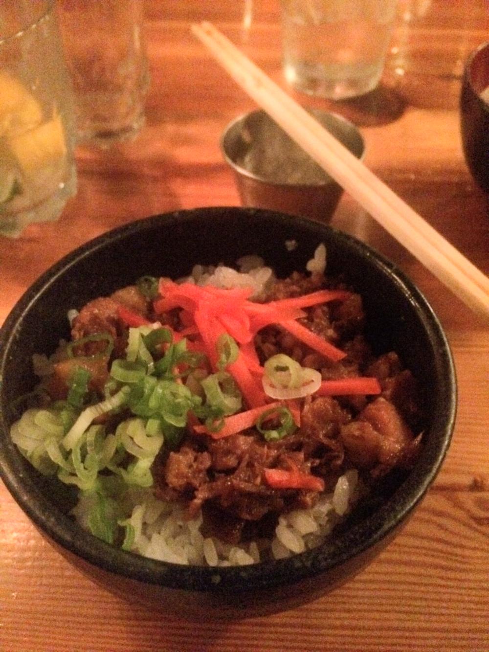 Chasu Donburi - Stewed Chopped Pork w/Pickled Ginger