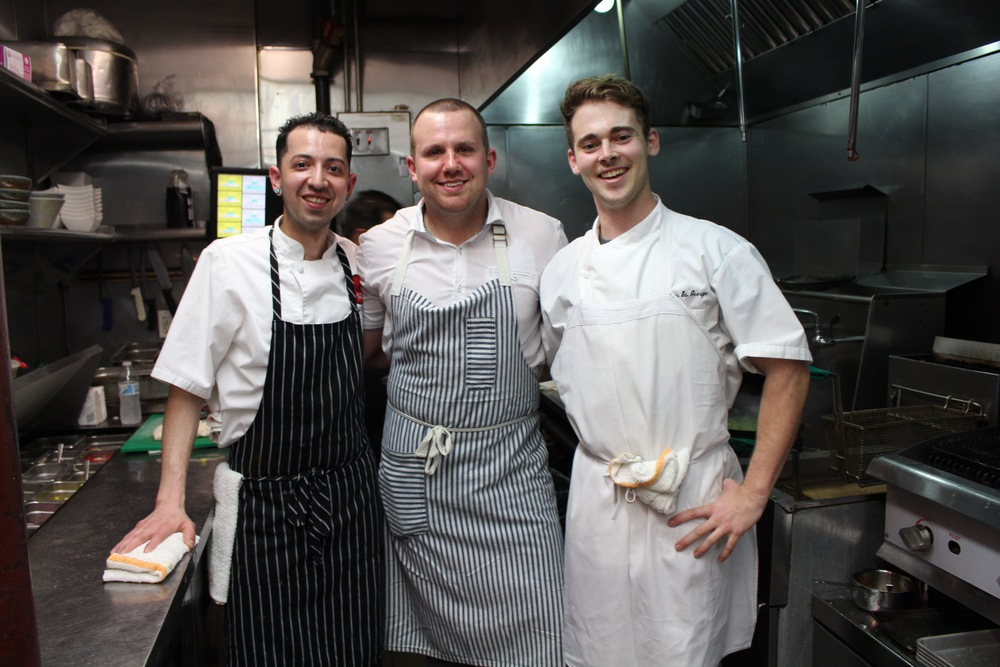 Pedro Guzman, Ryan Ratino and Austin St. George in the kitchen at Masa 14.