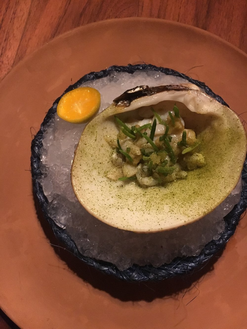 Melon clam with sea beans and a very sour little orange.