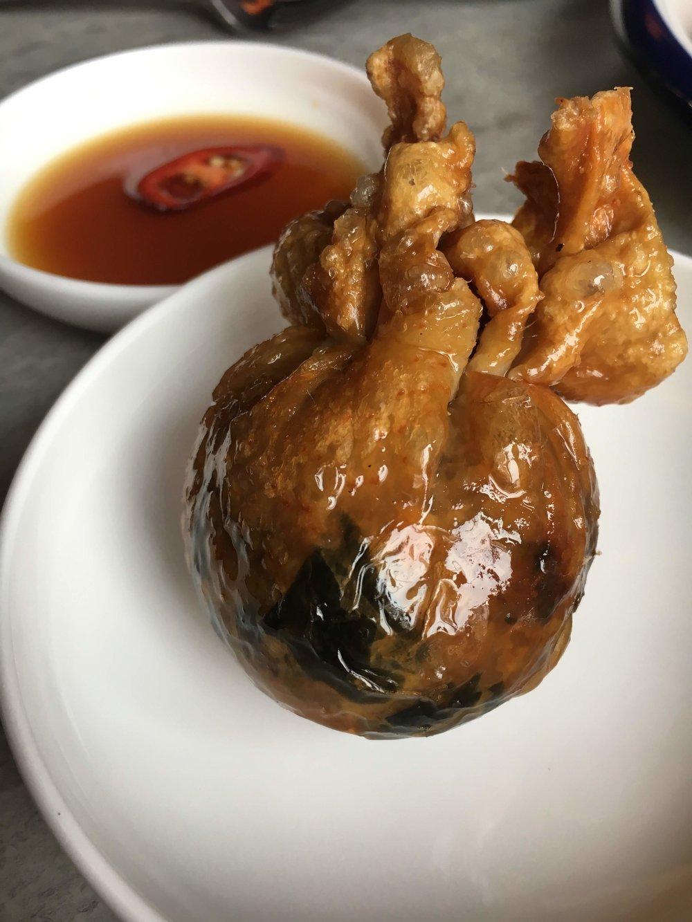 Chicken skin dumpling.
