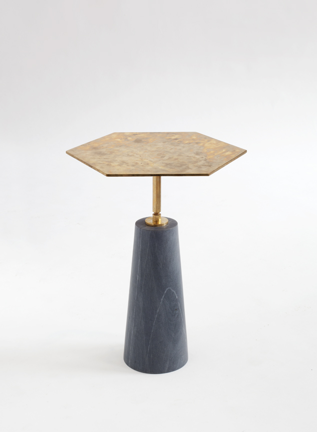 Egg Collective's Hawley Side Table in marble and solid brass that has started to patina