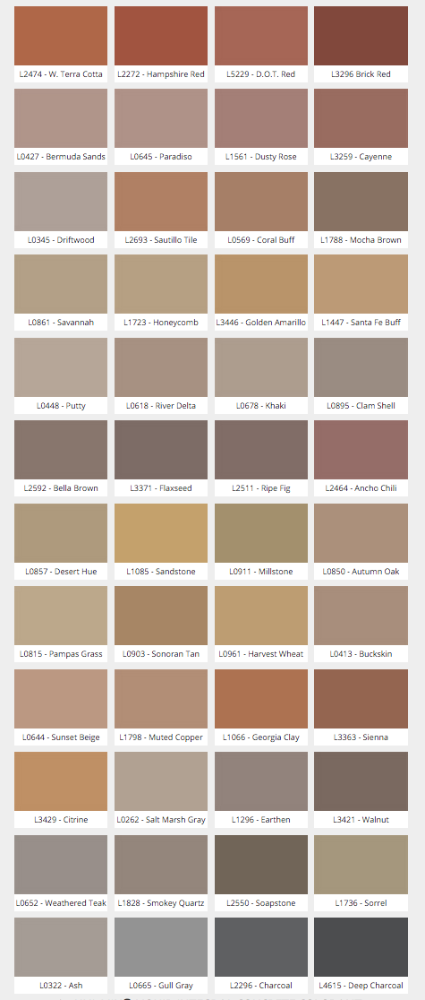 Butterfield Uni-Mix Color Chart