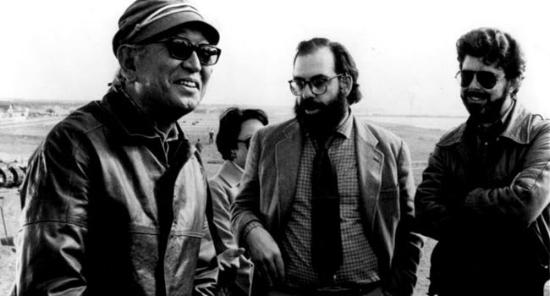 Kurosawa droppin' some knowledge on newbies Francis Ford Coppola and George Lucas.