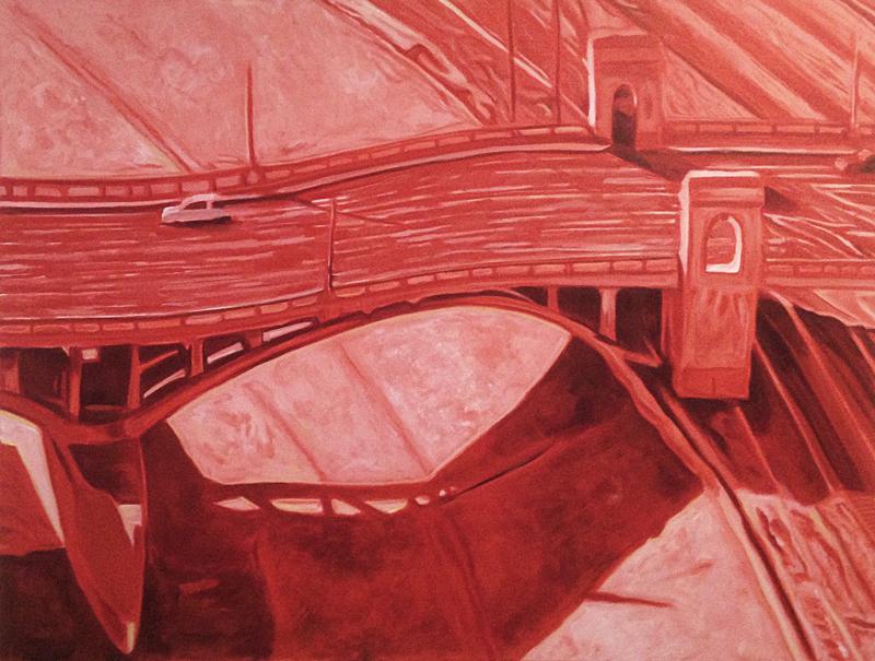 Red Bridge 2014 36x48 Acrylic on canvas