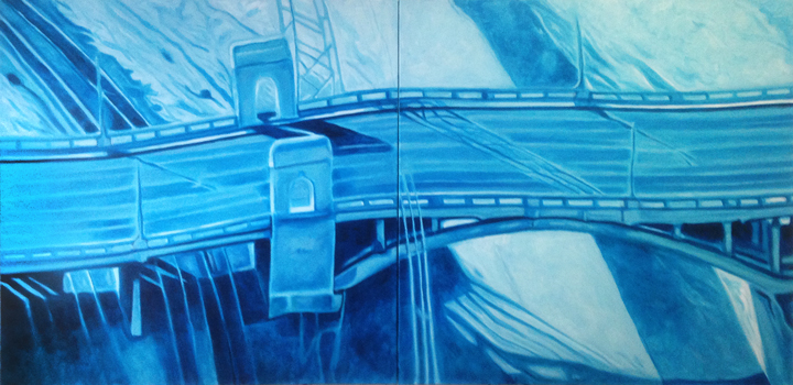 Blue Bridge 2014 72x36 Acrylic on canvas  SOLD