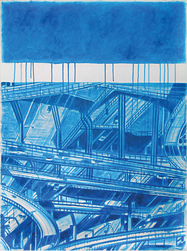 Blue Interchange 2012 40x30 Acrylic on canvas