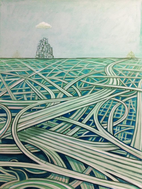 Blue Freeway 2010 40x30 Acrylic on canvas
