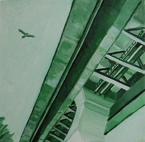 Green Under Bridge SOLD  2013 12x12 Acrylic on canvas