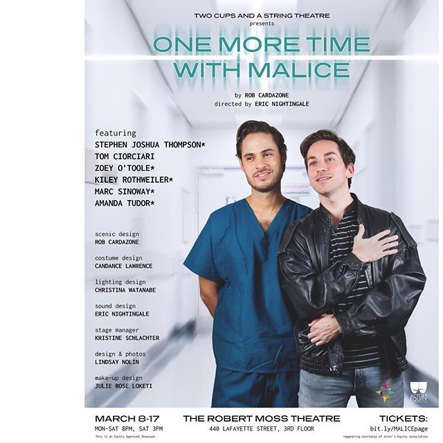 "2 more chances to see me as Nurse Donnie in ""One More Time with Malice."" Saturday 3/17 3PM & 8PM. All info in my profile! DISCOUNT CODE: SINOBAES 🌻"