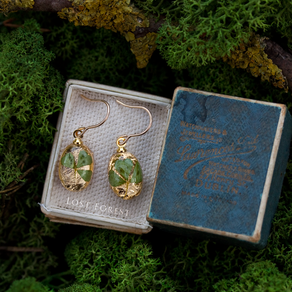 Custom earrings: shamrock & gold leaf - Just want to say a very Big Thank You for my lovely bangle and earrings for my cousin in the US.You did a fantastic job, just don't know how you do it! They are beautiful.- Betty, Ireland