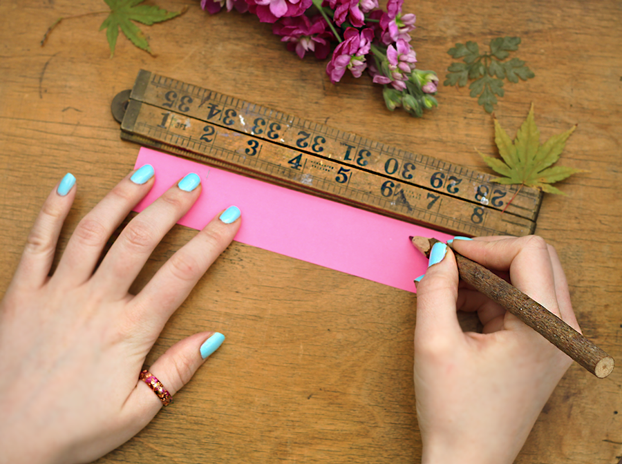 - STEP 8Lay the paper flat, and measure the length from the end of the paper to the mark. This gives the circumference you need for your fixed sized bangle.