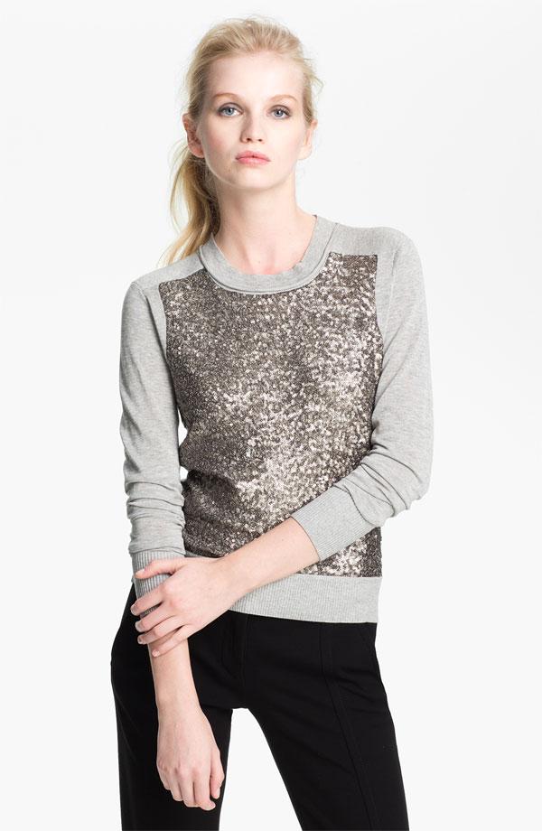 Paryse Sequin Silk Sweater, DVF