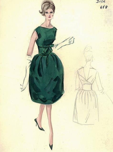 Dior Emerald Dress Sketch