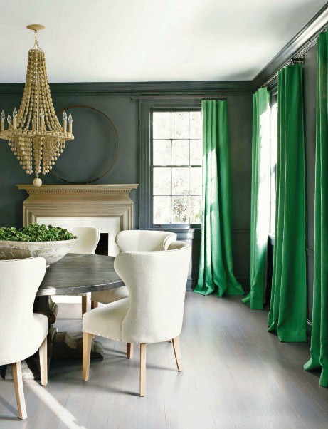 Emerald and Grey Dining Room