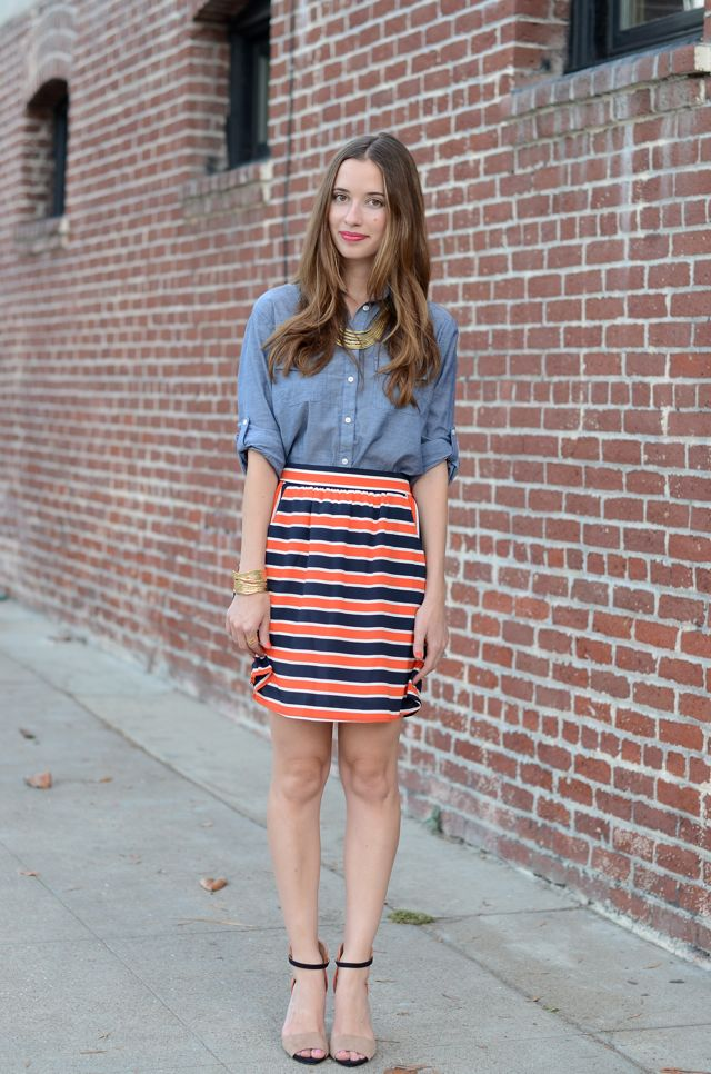 Chambray shirt and striped skirt